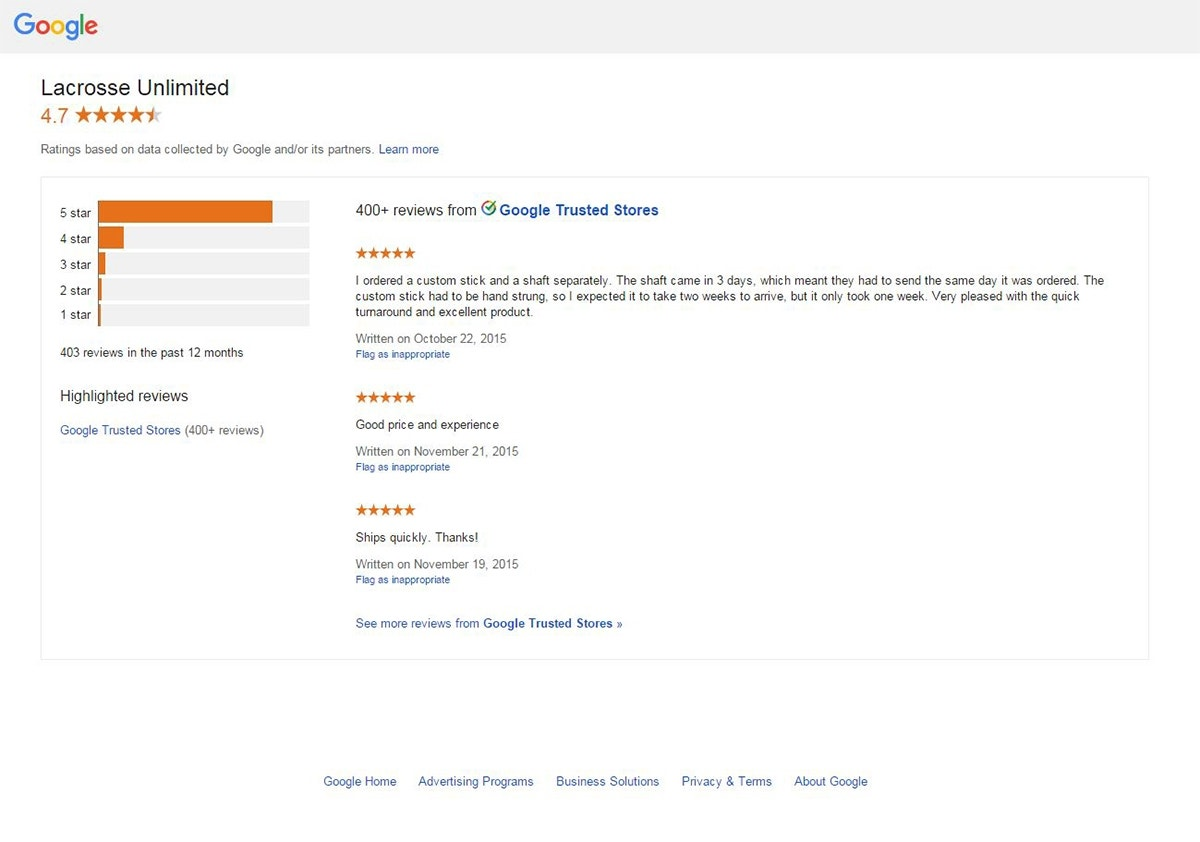 Google Trusted Store Reviews - Lacrosse Unlimited
