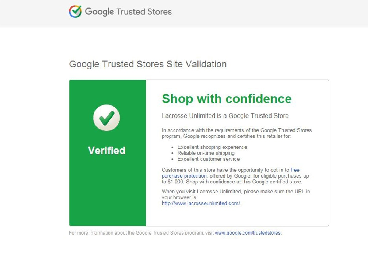Google Trusted Store - Lacrosse Unlimited