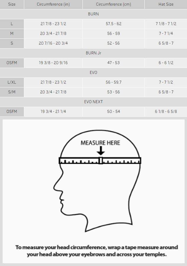 Warrier Burn Helmet Size Chart