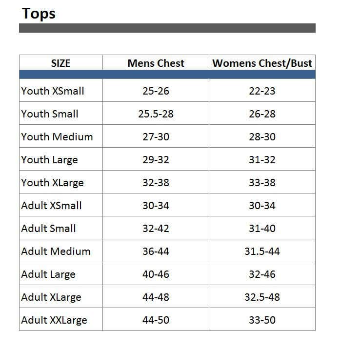 Apparel Tops Size Chart