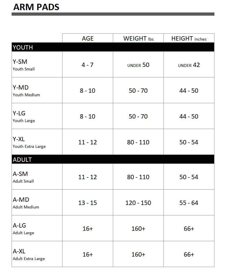 Arm Pads Size Chart